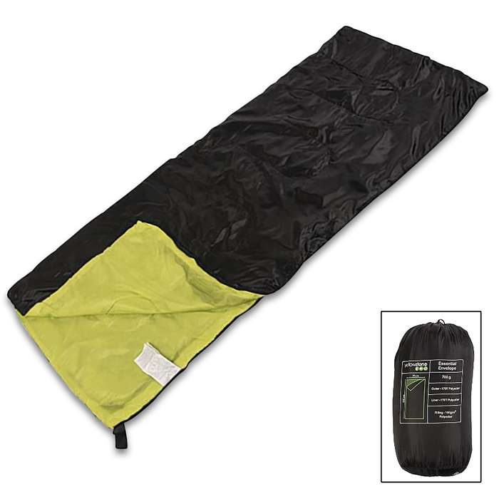 The Yellowstone Sleeping Bag is a lightweight and small-packed sleeping bag with a water repellent outer shell