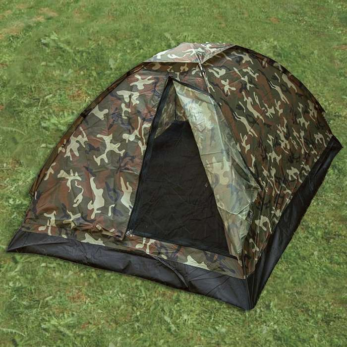 Woodland camo 3 person igloo tent on grass