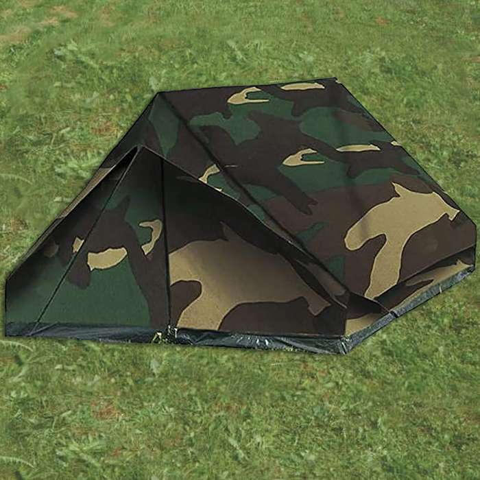 Woodland camo 2 person mini pack tent set up on grass