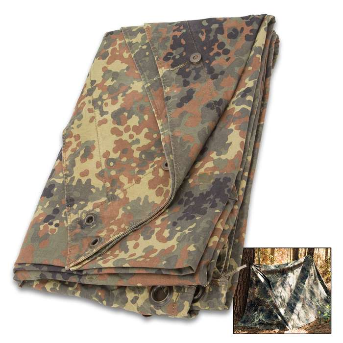 German Military Flecktarn Poncho And Camo Half Shelter - Used - Heavyweight Canvas, Nylon-Coated Interior, Grommets
