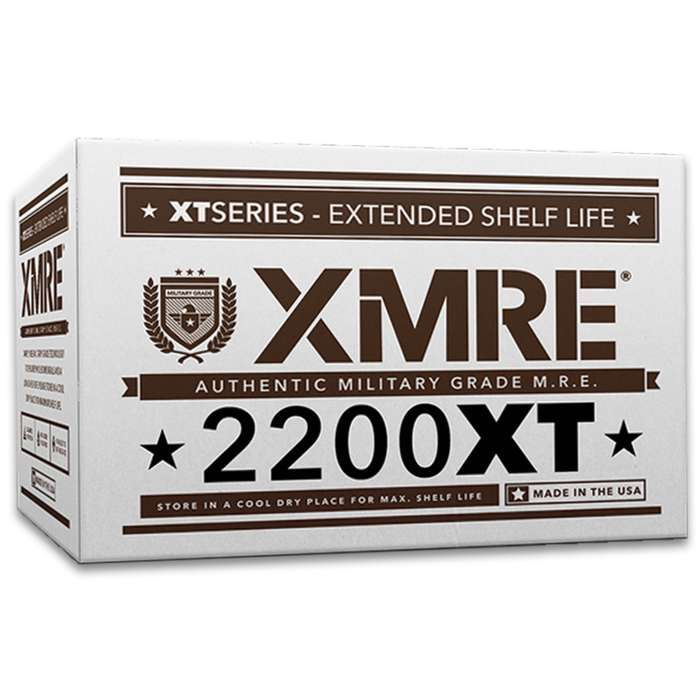 Exceeding traditional standards, XMRE Ready-To-Eat Meals are the new generation of MREs! The XMRE 2200XT 24-Hour Ration provides a full day's worth of US military grade, ready to eat meals