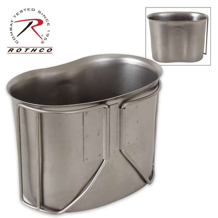 Rothco GI-Style Stainless Steel Canteen Cup - Fits 1-Qt. Canteen