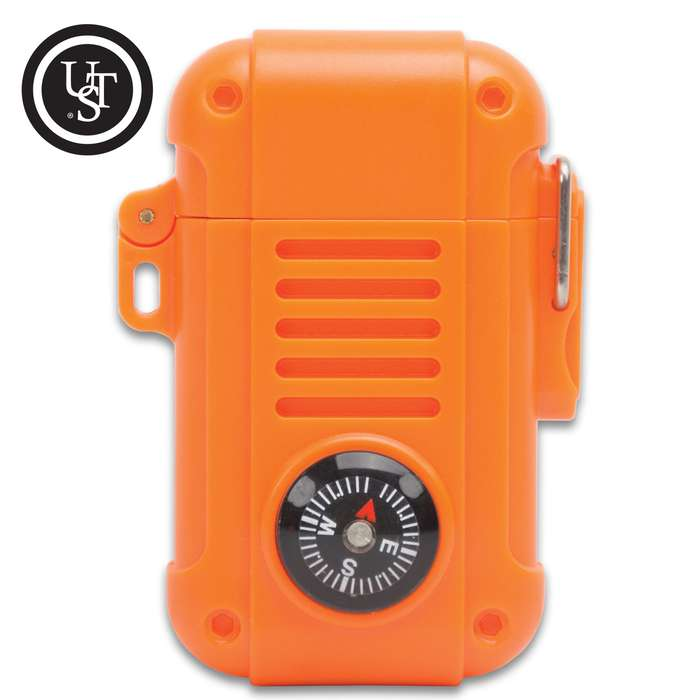 Produce a flame even in extreme conditions with the Ultimate Survival Technologies Wayfinder Lighter with Compass