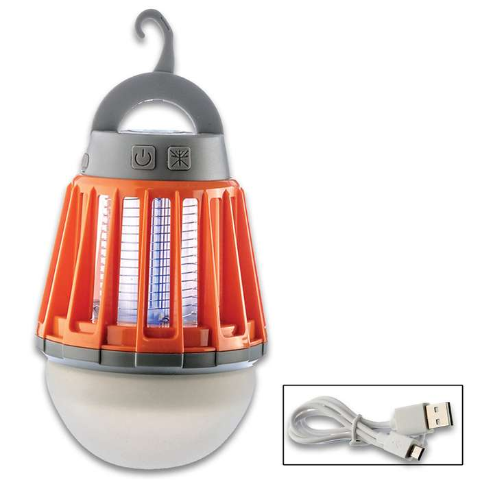 Rechargeable Lantern And Bug Zapper - Three Lighting Modes, 600 Volt Bug Screen, Water-Resistant, USB Cable Included