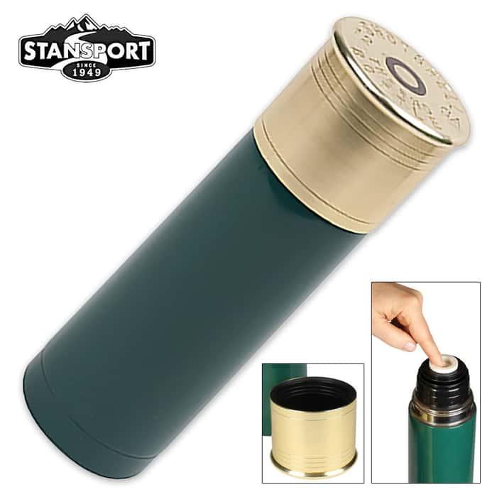 12 Gauge Shot Shell Thermal Bottle 25-oz. Green