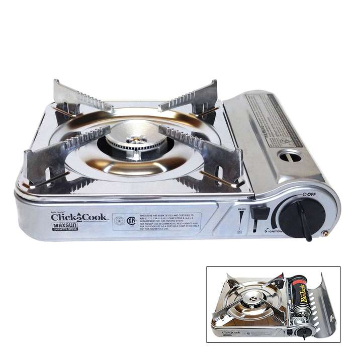 Click2Cook Stainless Steel Butane Stove - Piezo Ignition System, Cast Aluminum Burner, Safety Shut Off Device, Storage Case