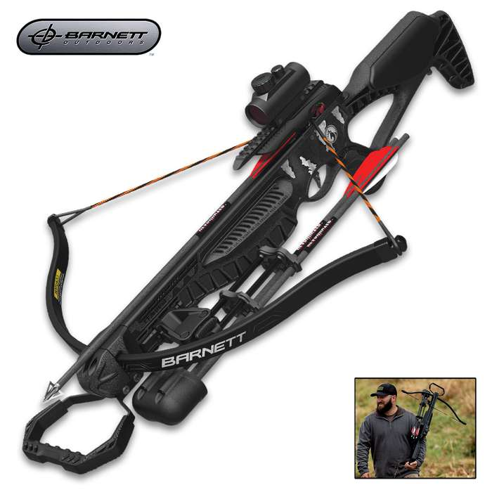 """The 4.8 lbs, recurve crossbow has a 195-lb draw weight with a 12"""" power stroke, sending bolts at speeds up to 260 fps"""