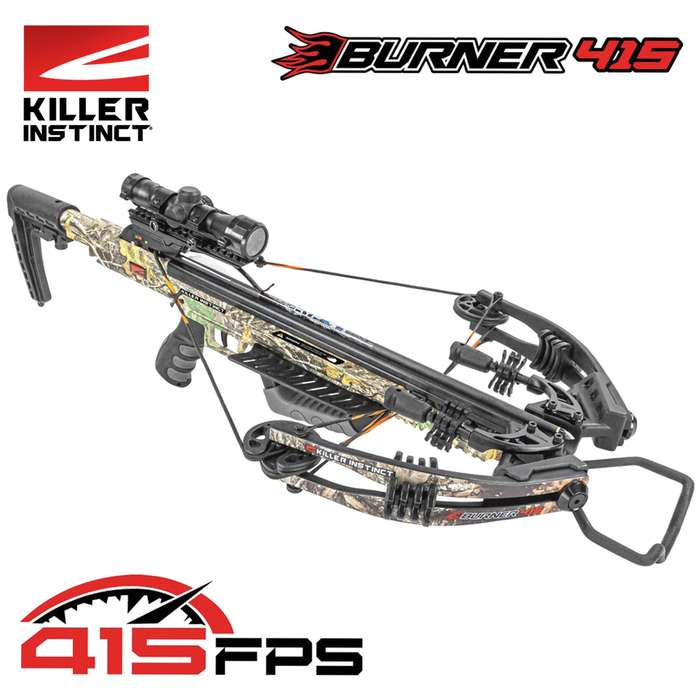 The Killer Instinct Burner 415 Crossbow generates 415 fps of wicked speed while offering both accuracy and control