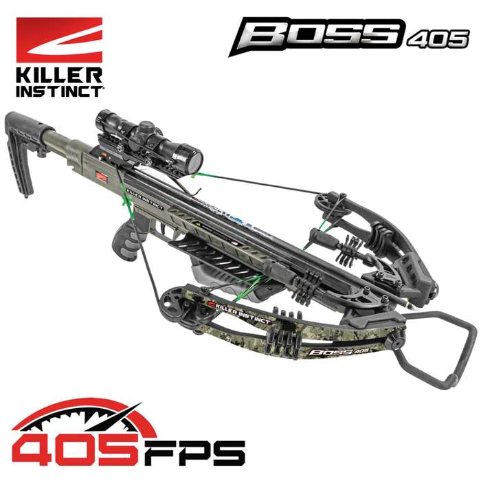 A deadly combination of high-octane fire power and agility, the Killer Instinct Boss 405 Crossbow hits targets hard at 405 fps