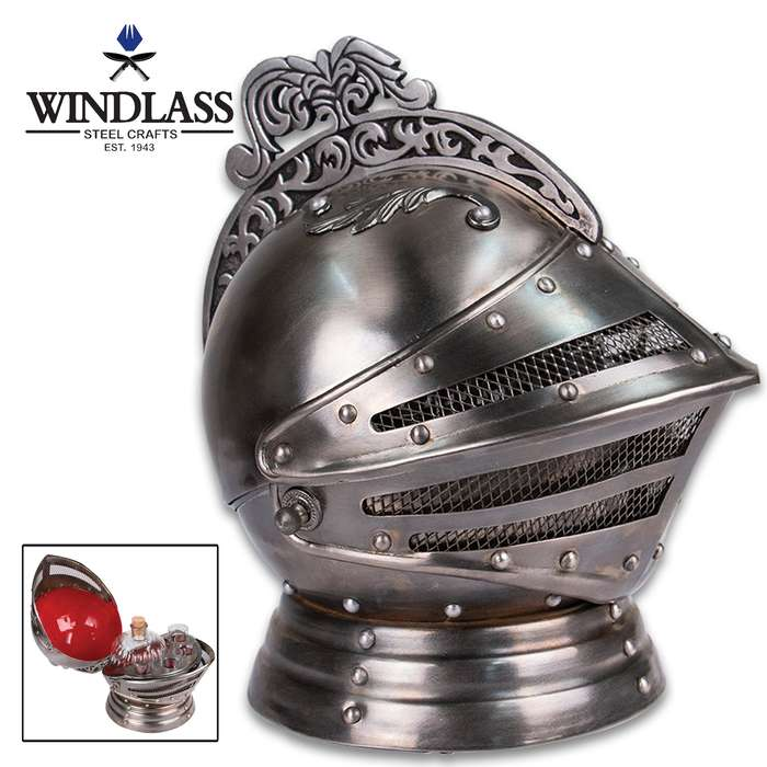 Become the ultimate medieval bartender with this new, all-metal medieval knight's helmet decanter set that can sit atop your bar, desk or bookshelf