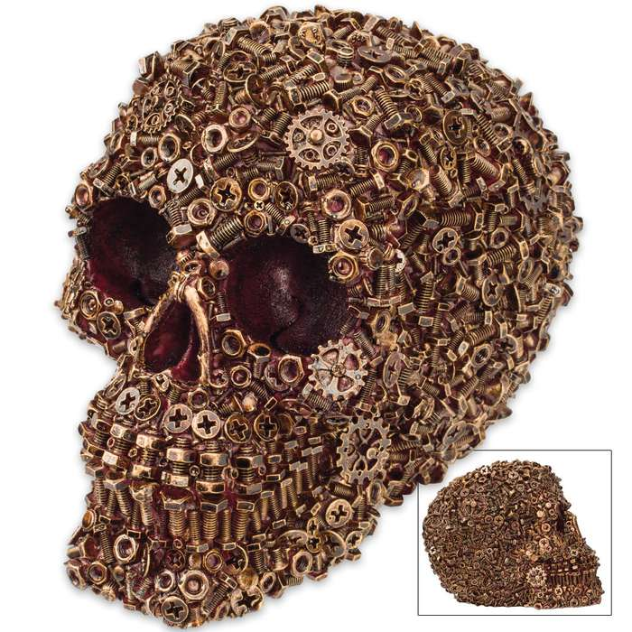 """Sprockedermis"" - Gear / Nut / Bolt Covered Skull Sculpture"