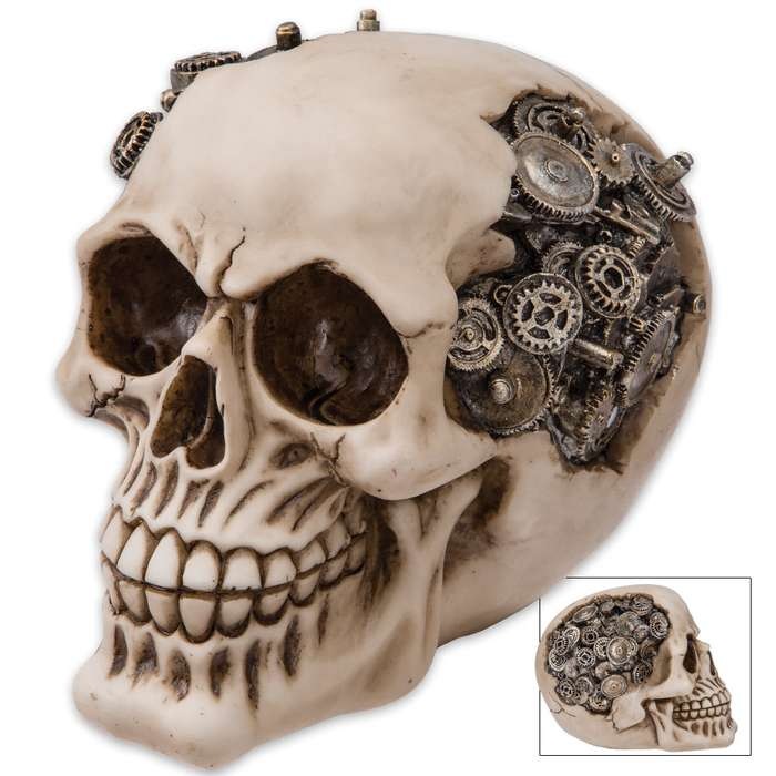 "Steampunk Gear Skull Sculpture - ""Gizmo Gearhead, the Steamdroid"""