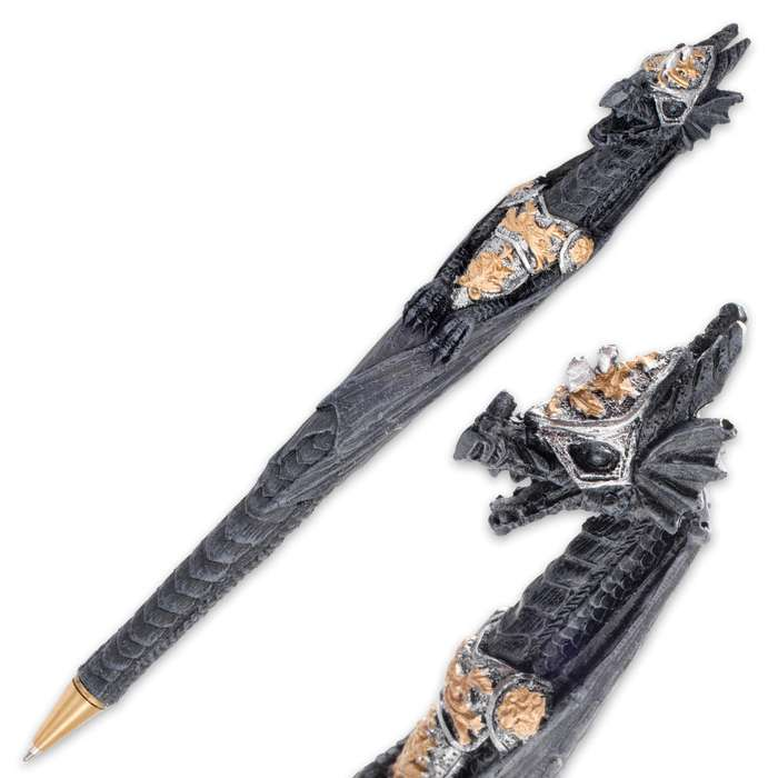Armored Dragon Twin Pen Set - Two Polyresin Ballpoint Pens with Blue Ink
