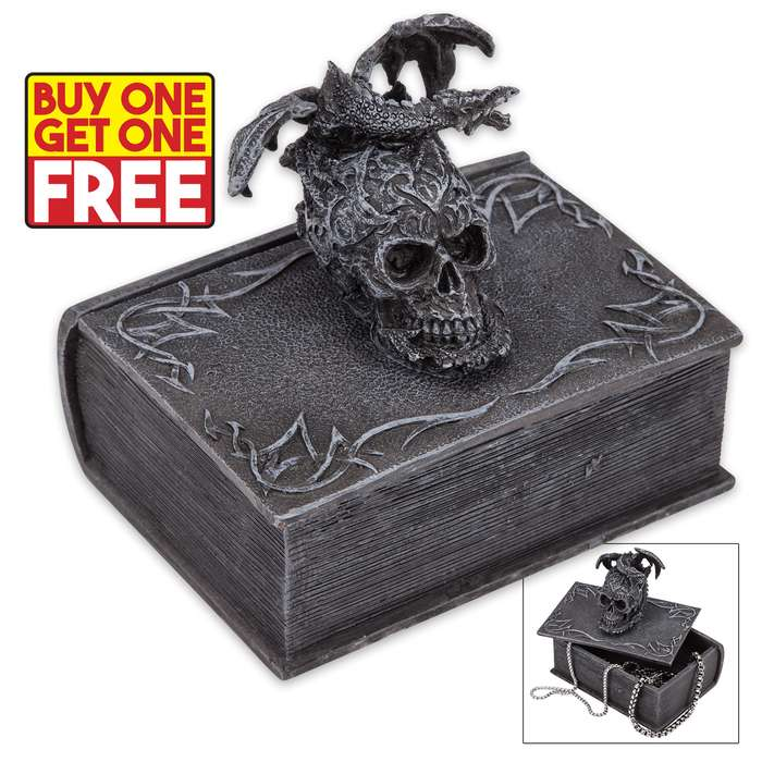 Terror Tome Trinket Box - Book-Shaped Polyresin Box Topped by Skull, Winged Dragon - BOGO