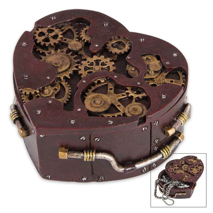 Heart-Shaped Steampunk Trinket Box