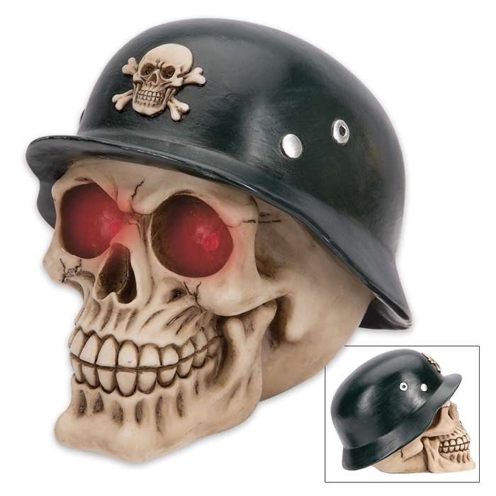 Herr Bones Soldier Skullpture - LED Lights
