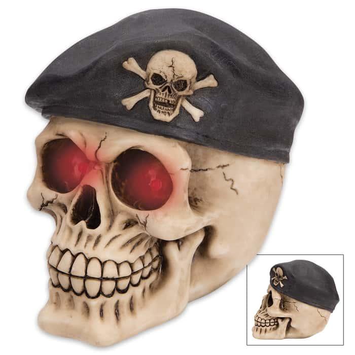 Bones And Beret Ranger Skullpture - LED Lights