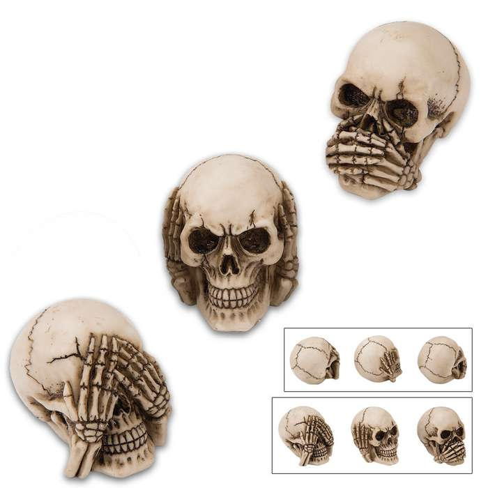 See No, Hear No, Say No Skull Statues
