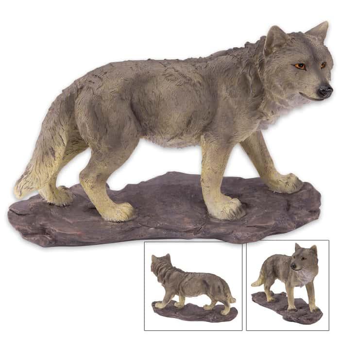 Prowling Wolf Statue