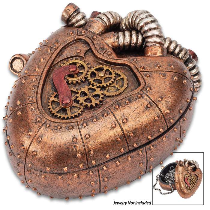 """Copper Mechanical Heart Steampunk Trinket Box - Crafted Of Polyresin, Hand-Painted, Removable Lid - Dimensions 4 1/4""""x 3 1/2""""x 2"""""""