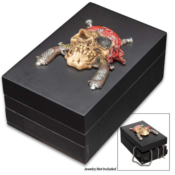 "Pirate Mate Black Wooden Box - Intricately Detailed Resin Accent, Hand-Painted, Hinged Lid - Dimensions 5 3/4""x 3 3/4""x 2 1/2"""