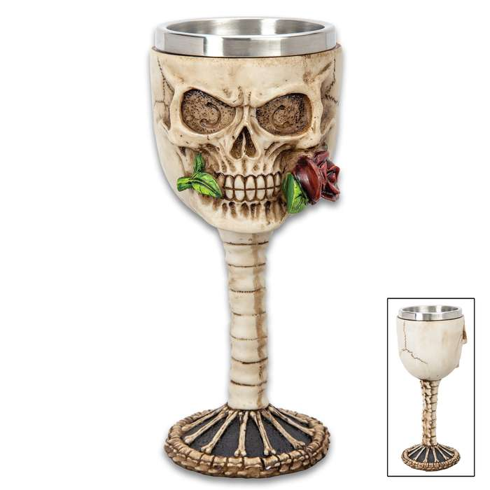 "Immortal Rose Bite Skull Goblet - Crafted Of Polyresin And Wood, Intricately Detailed, Hand-Painted - Dimensions 7 1/4""x 2 3/4"""