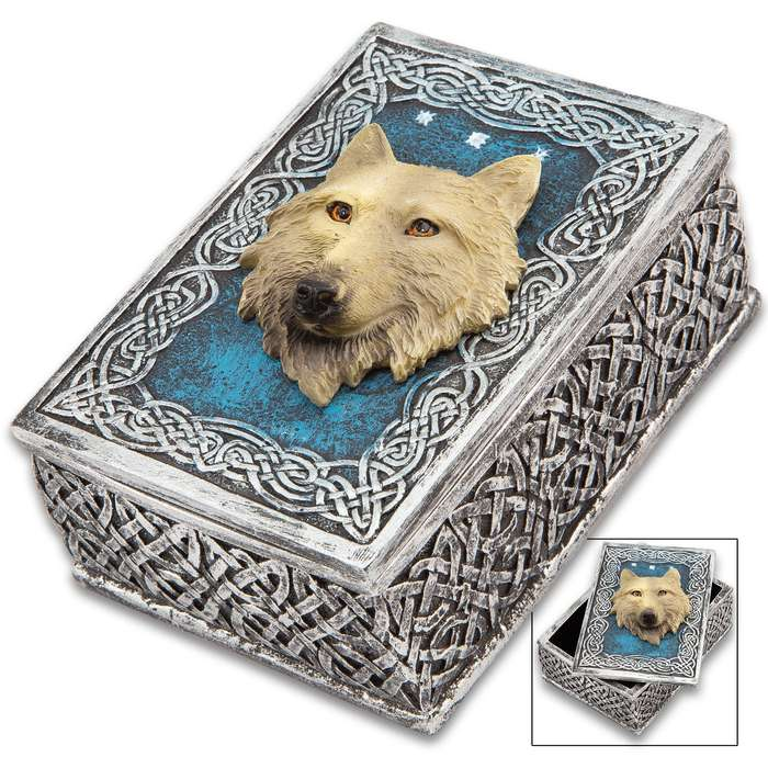 "Call Of The Wild Decorative Box - Crafted Of Cold Cast Resin, 3-D Relief, Exquisitely Painted, Lined In Black Felt - Dimensions 4 3/5""x 3 3/10""x 2 2/5"""