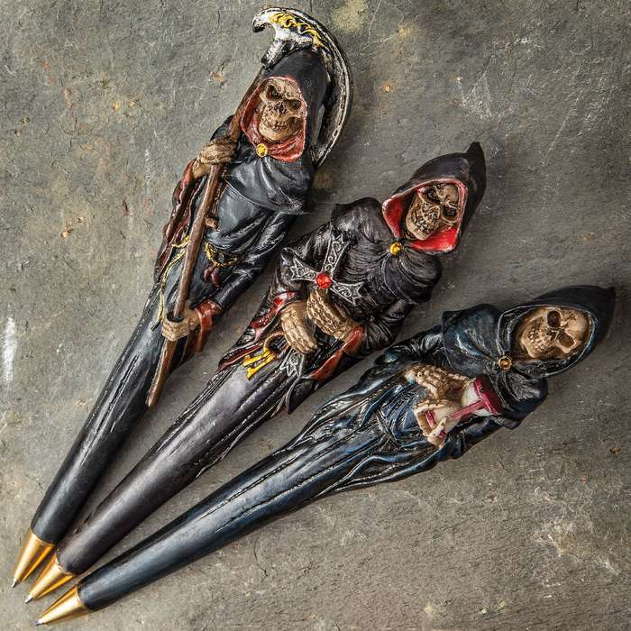 Grim Reaper Three-Piece Ball Point Pen Set - Crafted Of Polyresin, Intricate Painted Detail, Three Different Designs - Length 6""