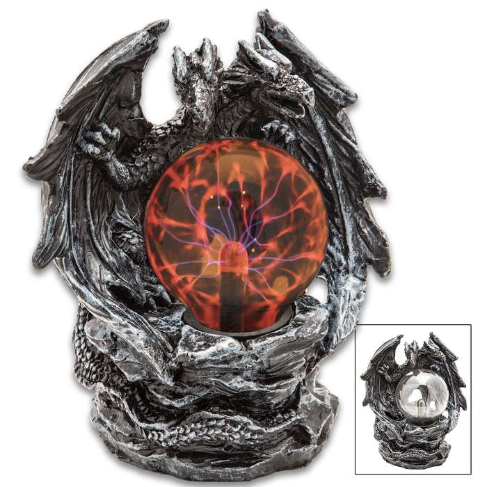 "Double-Headed Dragon Crystal Ball - Plasma Sphere, Touch Sensitive, High-Strength Glass Construction, Sculpted Resin Base - Dimensions 7""x 4 1/2""x 7 3/4"""