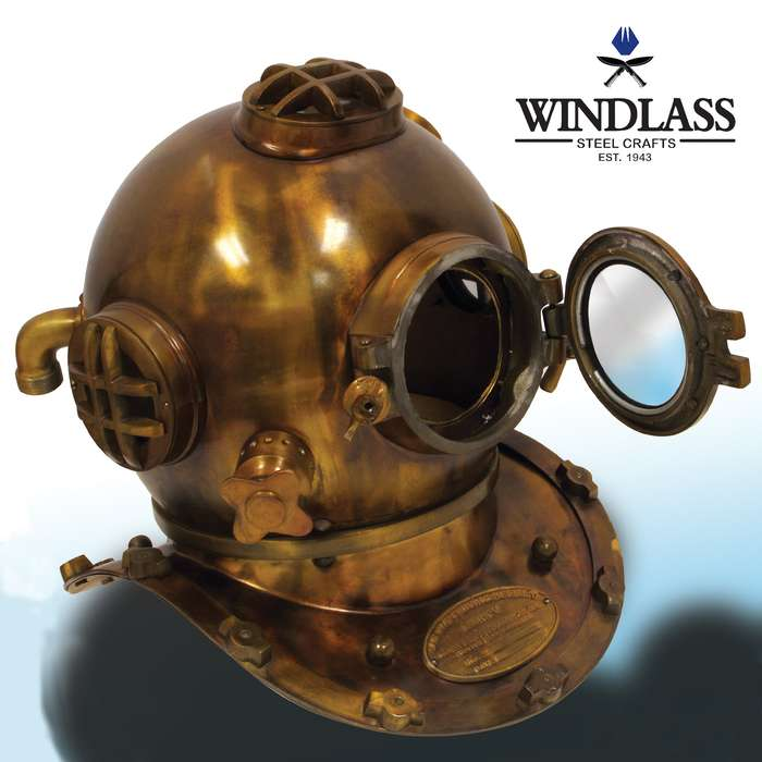 The Windlass Steelcrafts WWII US Navy Mark V Divers Helmet is a stunning, high-quality reproduction nautical decor item