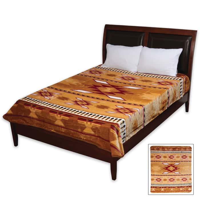 Brown Aztec Tribal Pattern Queen Size Blanket