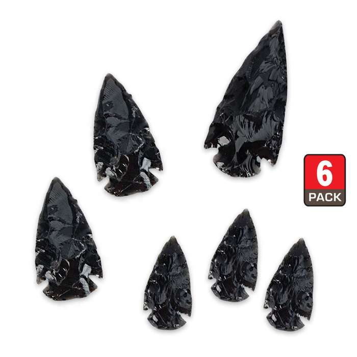 Black Obsidian Arrowhead Collection - 6-Pack