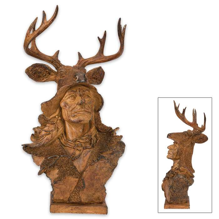 Faux Wood Native American with Deer Antler Headdress Sculpture