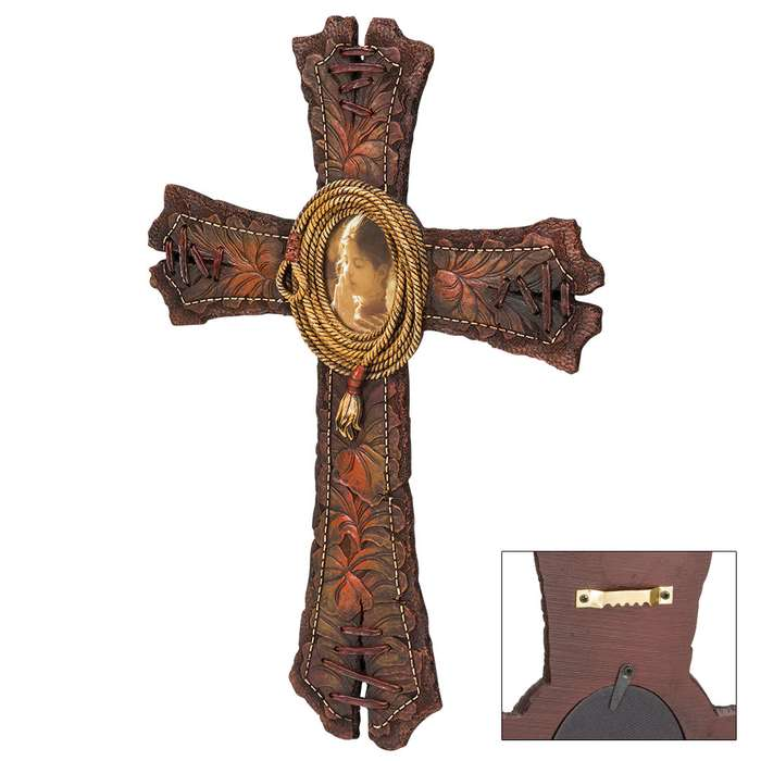 Rustic Faux Leather Cross Plaque with Coiled Rope Accent
