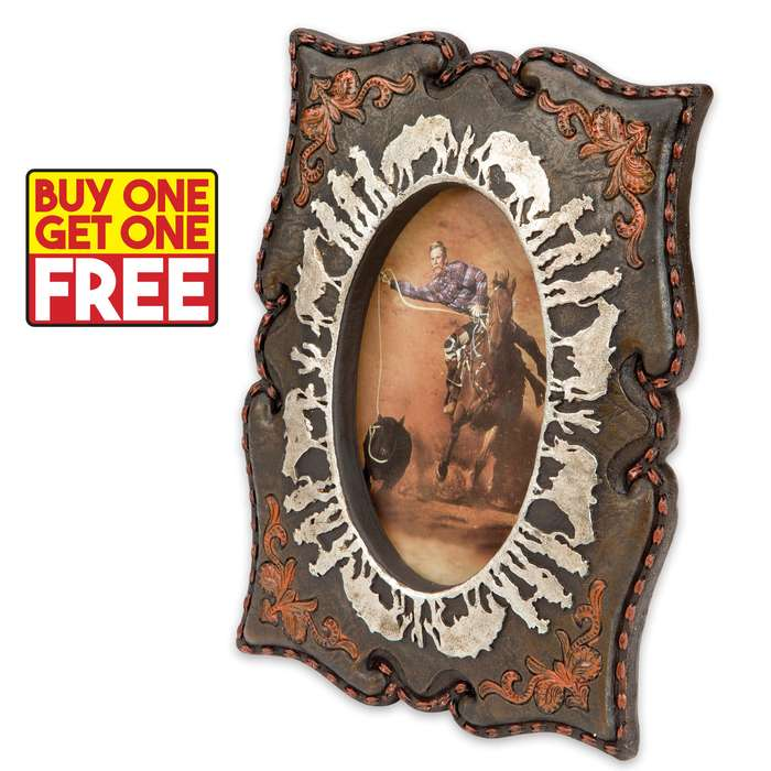"""Cowboys and Horses Antiqued Western-Style Picture Frame - Fits 4"""" x 6"""" Pictures - BOGO"""