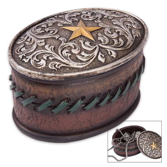 Golden Star Vintage-Style Jewelry Box