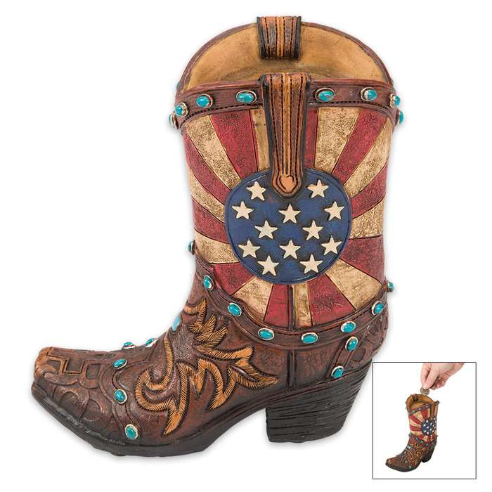 American Flag Boot Bank - Cowboy Boot-Shaped Change Holder - Weathered Stars and Stripes Motif