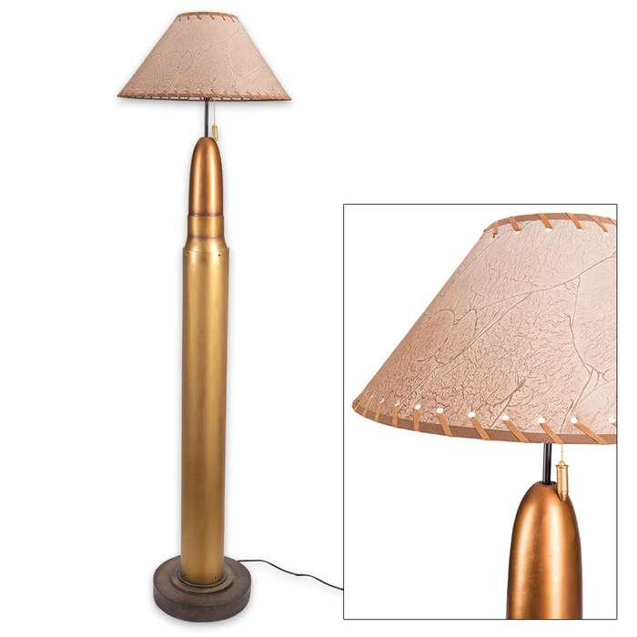 Bullet Floor Lamp with Rustic Lampshade, Bullet Pull-String Switch