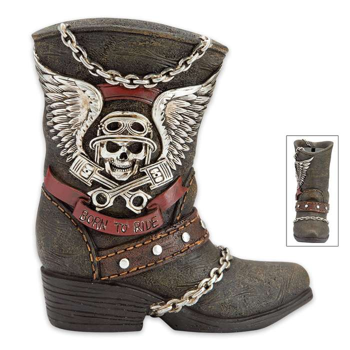 Born to Ride Boot Bank - Biker Boot-Shaped Change Holder