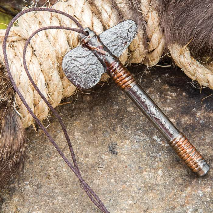 "Stone Age Axe Necklace - Crafted Of Metal, Highly Detailed - 15"" Wax Cord"