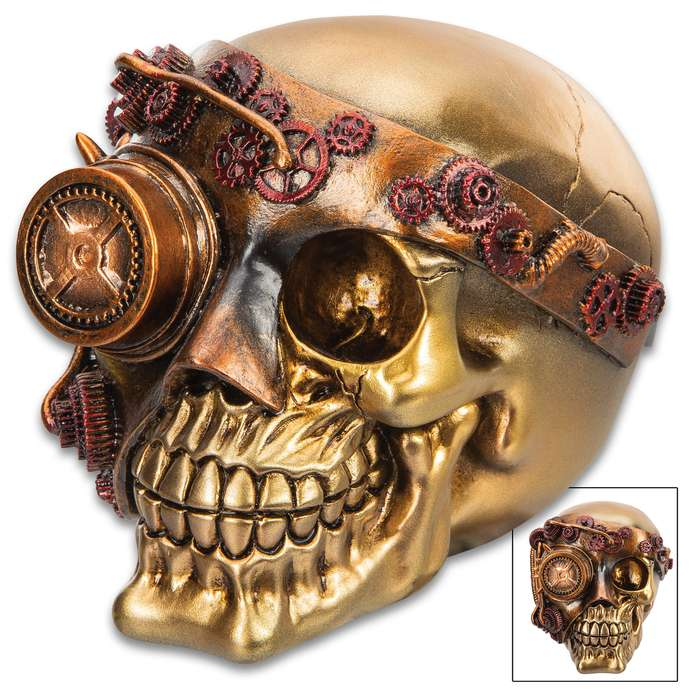 "Steampunk Joe Skullpture - Crafted Of Polyresin, Hand-painted Details, Original Design - Dimensions 5 1/2""x 4 1/2""x 5"""