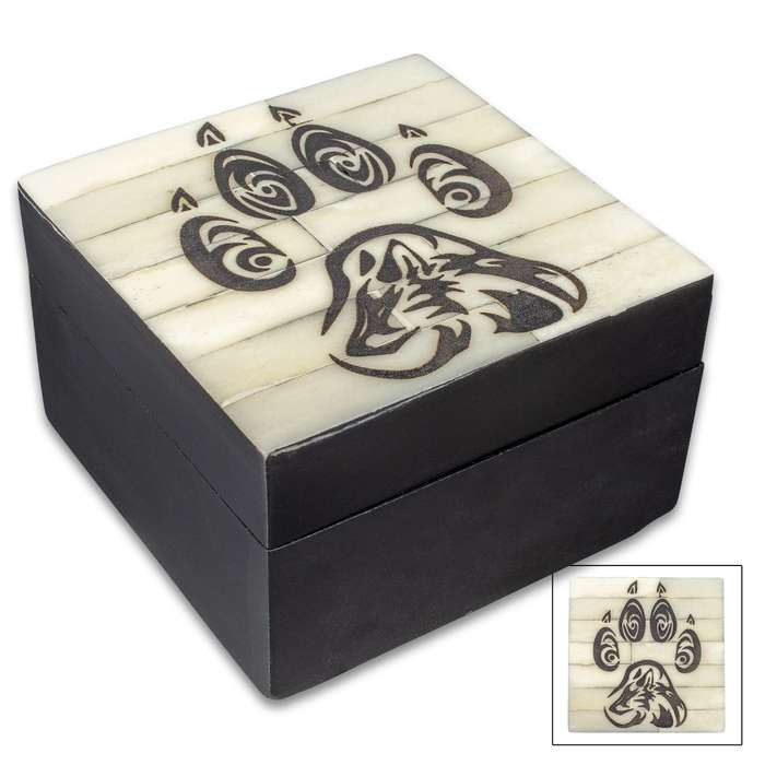 "Black Wooden Wolf Paw Box With Bone Lid - Genuine Bone, Removable Lid, Etched Design, Felt Lined Interior - Dimensions 3 1/4"" x 3 1/4"" x 2"""