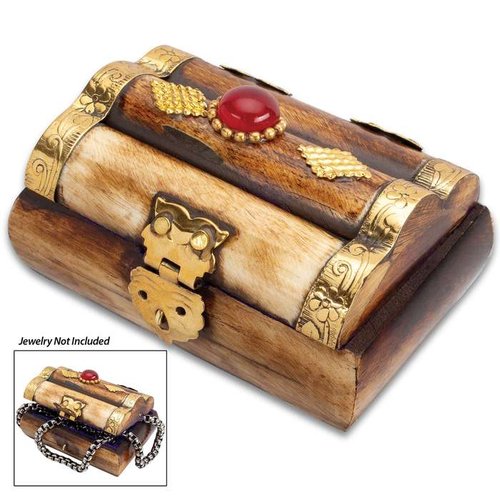"Antique Treasure Chest Bone Box - Genuine Bone, Brass Hinged Lid, Brass Accents, Faux Jewel, Felt Lined Interior - Dimensions 3"" x 1 3/4"" x 1 1/4"""