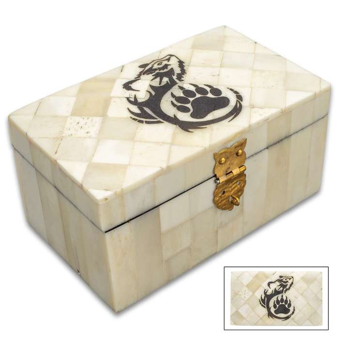 "Native American Bear Bone Box - Genuine Bone, Brass Hinged Lid, Etched Design, Felt Lined Interior And Bottom - Dimensions 4 1/4"" x 2 1/2"" x 2 1/4"""