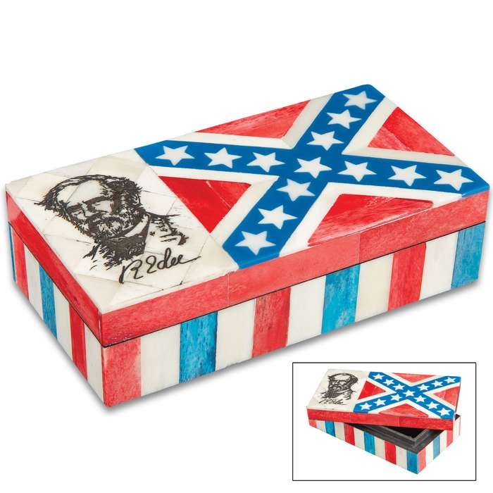 "Robert E Lee And Rebel Flag Bone Box - Genuine Bone And Wood Construction, Felt Lined Interior And Bottom - Dimensions 6 1/4""x 3 1/4""x 1 3/4"""