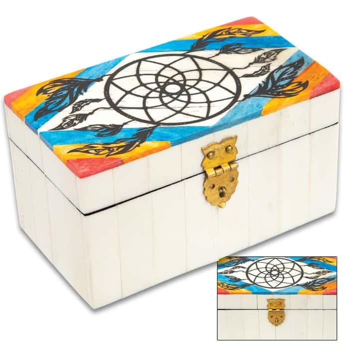 "White Dreamcatcher Bone Box - Genuine Bone And Wood Construction, Felt Lined Interior And Bottom - Dimensions 4 1/4""x 2 1/2""x 2 1/4"""