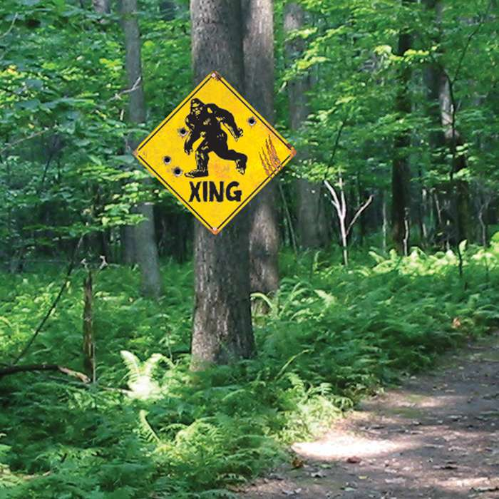 "Sasquatch Xing Sign - 24-Gauge Metal Construction, Vivid Artwork, Two Mounting Holes - Dimensions 17 1/2""x 17 1/2"""