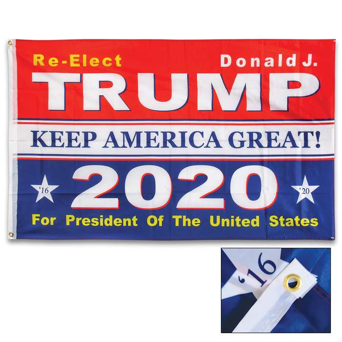 Re-Elect President Trump 2020 Flag - 210D Nylon Construction, Reinforced Header, Double-Stitched Edges, Metal Grommets