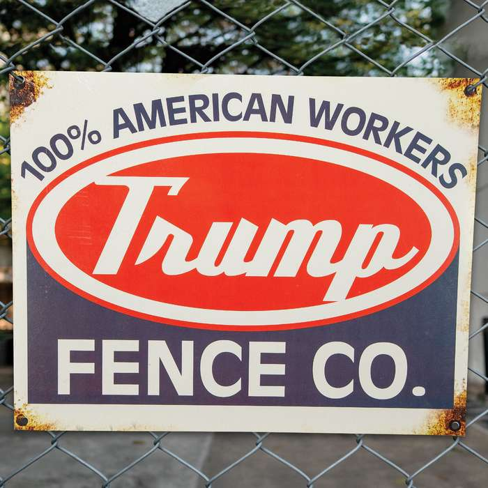 "Trump Fence Company Tin Sign - Vibrant Artwork, Corrosion Resistant, Mounting Holes - Dimensions 16""x 12 1/2"""