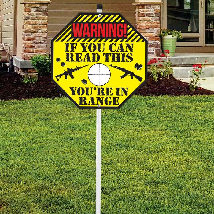 """If You Can Read This Sign - Tough Plastic Construction, Weather-Resistant Artwork - 10"""" Diameter, 29"""" Tall"""